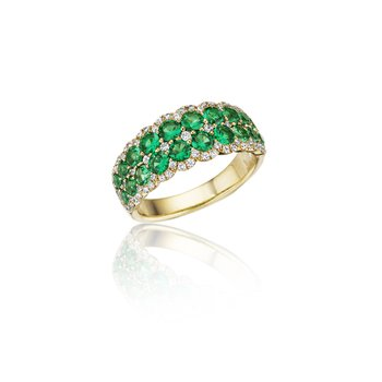 Get Sentimental Emerald and Diamond Double Row Ring