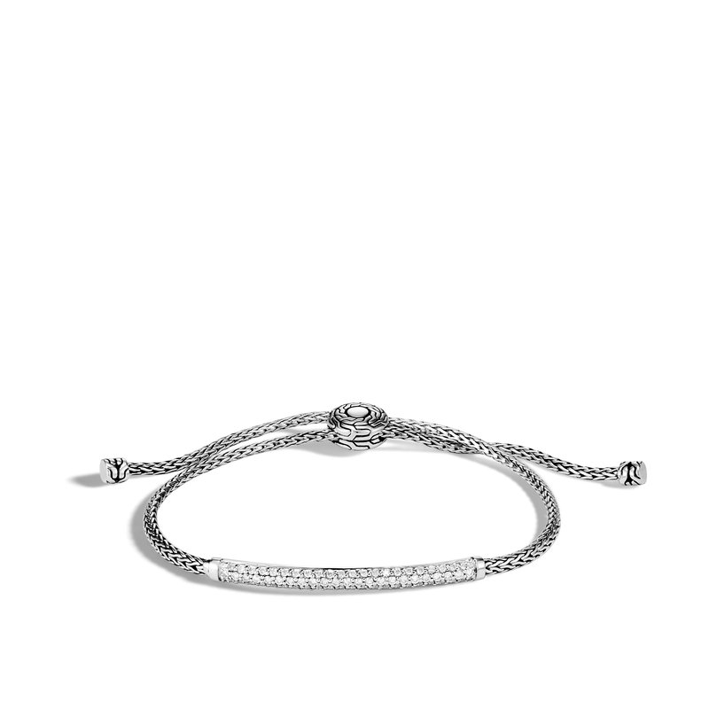 JOHN HARDY Classic Chain Station Pull Through Bracelet, Silver, Diamond