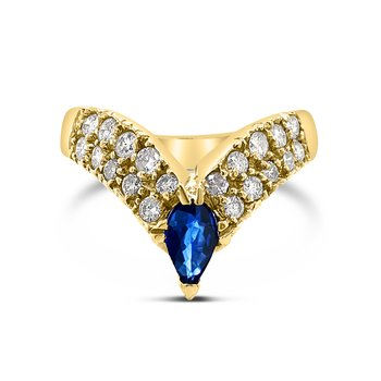 14K Yellow Gold Blue Sapphire Diamond V-Band