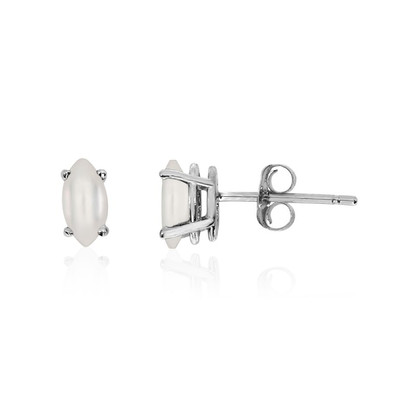 14k White Gold Freshwater Cultured Pearl Marquise Earrings