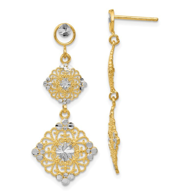 Quality Gold 14k Rhodium Diamond-cut Filigree Dangle Earrings