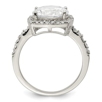 Sterling Silver Polished with CZ Ring
