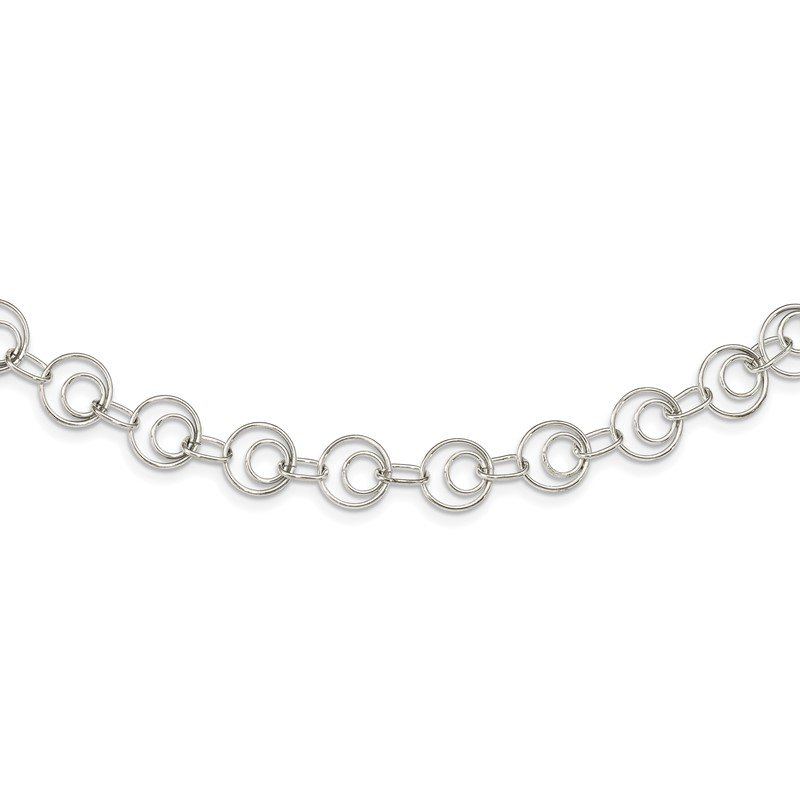 Quality Gold Sterling Silver Polished Link Necklace