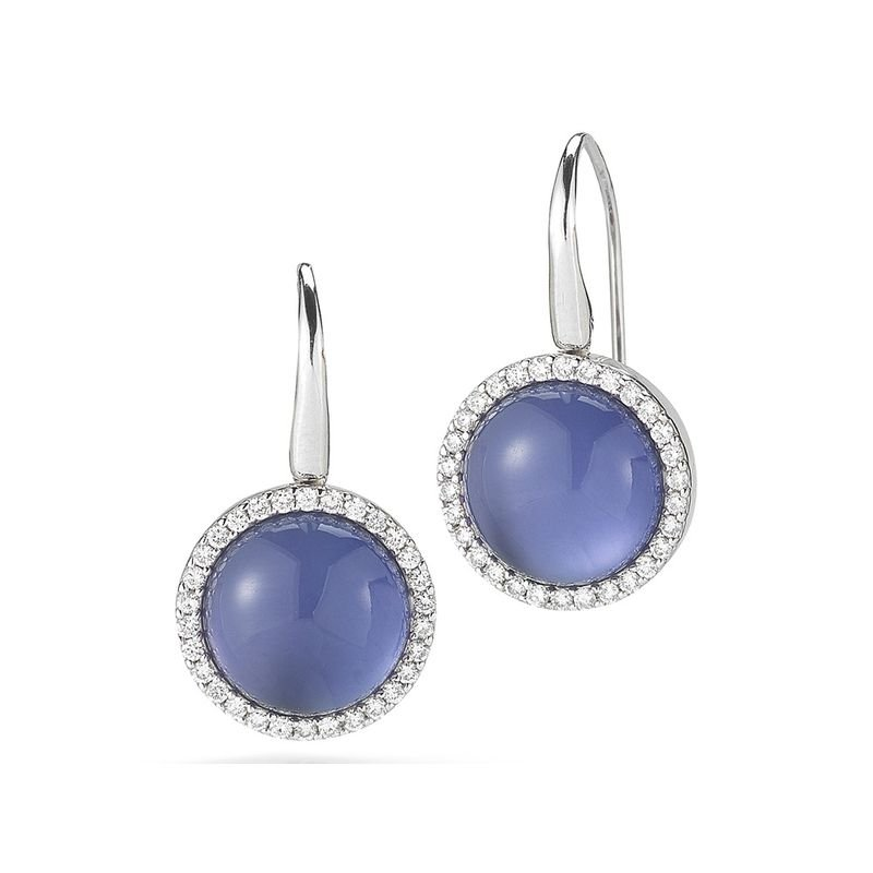 Roberto Coin Earrings With Diamonds, Amethyst And Mother Of Pearl