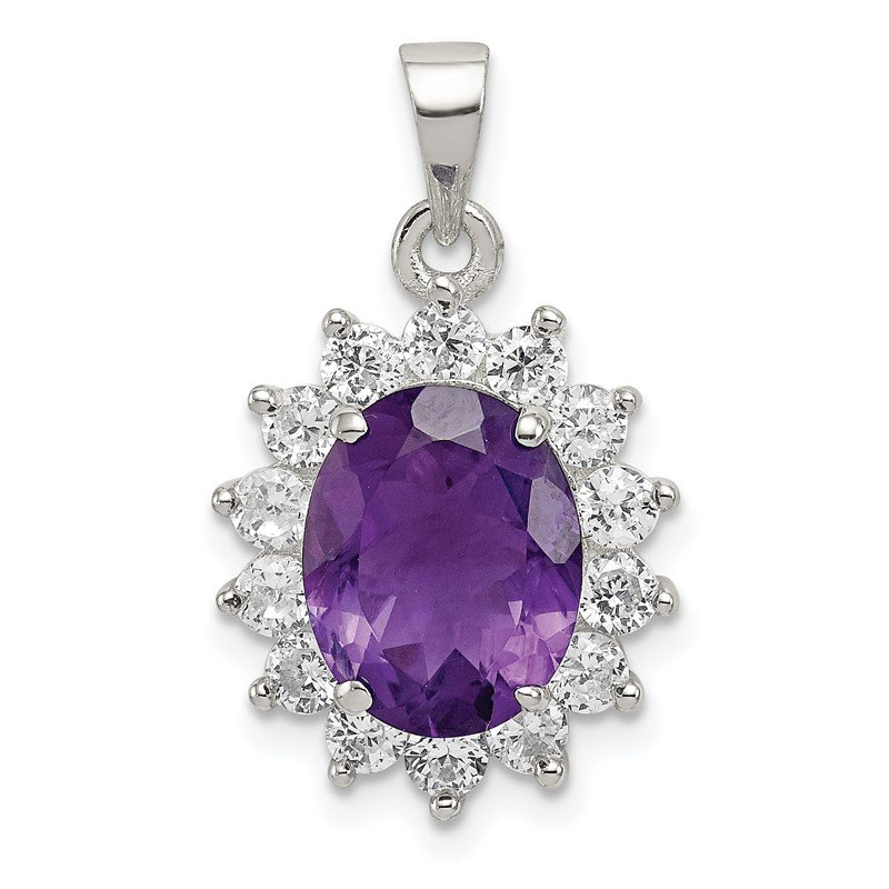 Quality Gold Sterling Silver Amethyst & CZ Pendant