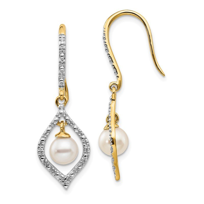 Quality Gold 14k 6-7mm White Round FWC Pearl .02ct. Diamond Dangle Earrings