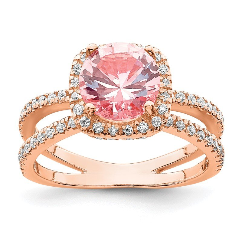 Quality Gold Sterling Silver Rose-tone Pink Center Nano Crystal & CZ Square Ring