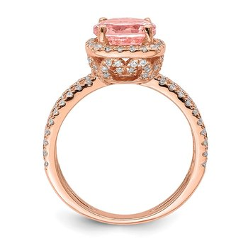 Sterling Silver Rose-tone Pink Center Nano Crystal & CZ Square Ring