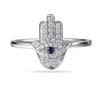 14K Hamsa Ring with 39 Diamonds 0.16C & 1 Sapphire 0.02C