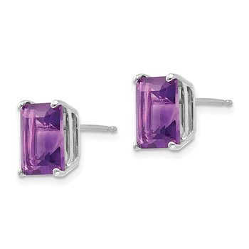 14k White Gold 9x7mm Emerald Cut Amethyst Earrings