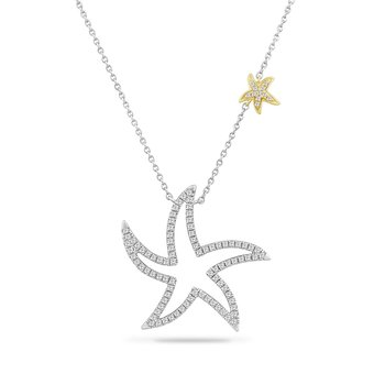 "14K LARGE  OPEN STARFISH NECKLACE 98 DIAMONDS 0.55CT 18"" chain"