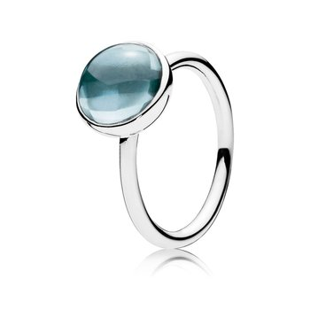 Poetic Droplet Ring, Aqua Blue Crystal