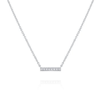 Diamond Bar Necklace in 14k Gold