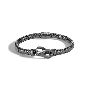 Asli Classic Chain Link Station Bracelet in Blackened Silver