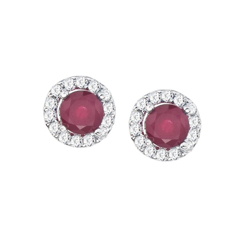 Color Merchants 14k White Gold Ruby and Diamond Halo Earrings