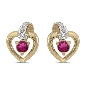 14k Yellow Gold Round Rhodolite Garnet And Diamond Heart Earrings
