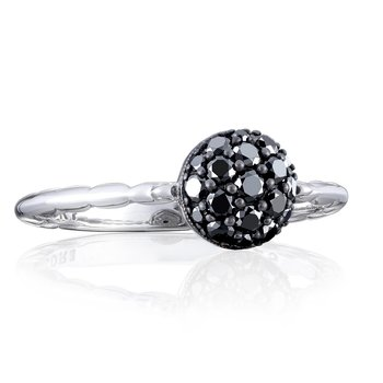 Petite Pavé Dew Drop Ring in Silver with Black Diamonds