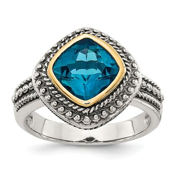 Sterling Silver w/14k London Blue Topaz Ring