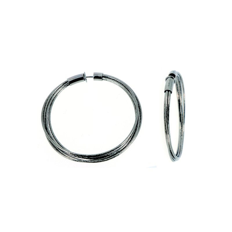 Pesavento Ruthenium DNA Spring Medium Hoop Earrings