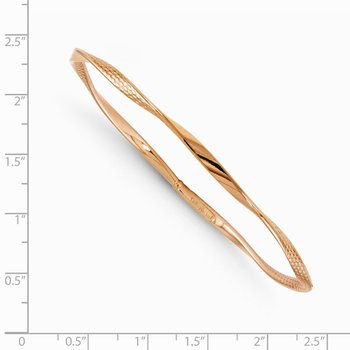 Leslie's 14k Rose Gold Polished and Textured Twisted Slip-on Bangle
