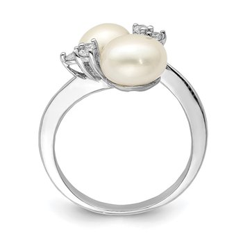Sterling Silver Rhodium-plated 8-9mm White 2-FWC Pearl and CZ Ring