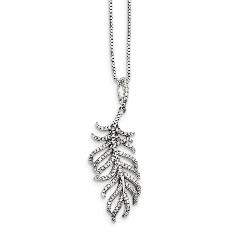Quality Gold Sterling Silver CZ Brilliant Embers Feather Necklace