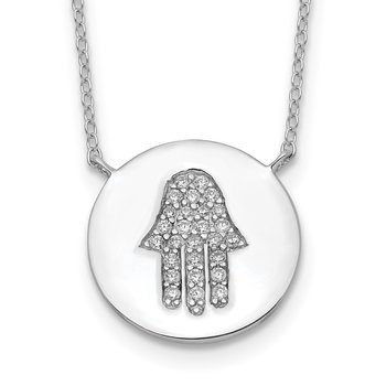 Sterling Silver Rhodium-plated Hamsa w/CZ w/2in ext. Necklace