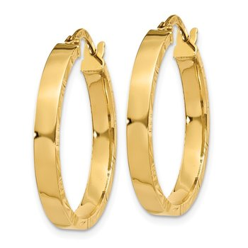 14K Diamond Cut Edge Medium 3mm Polished Hoop Earrings