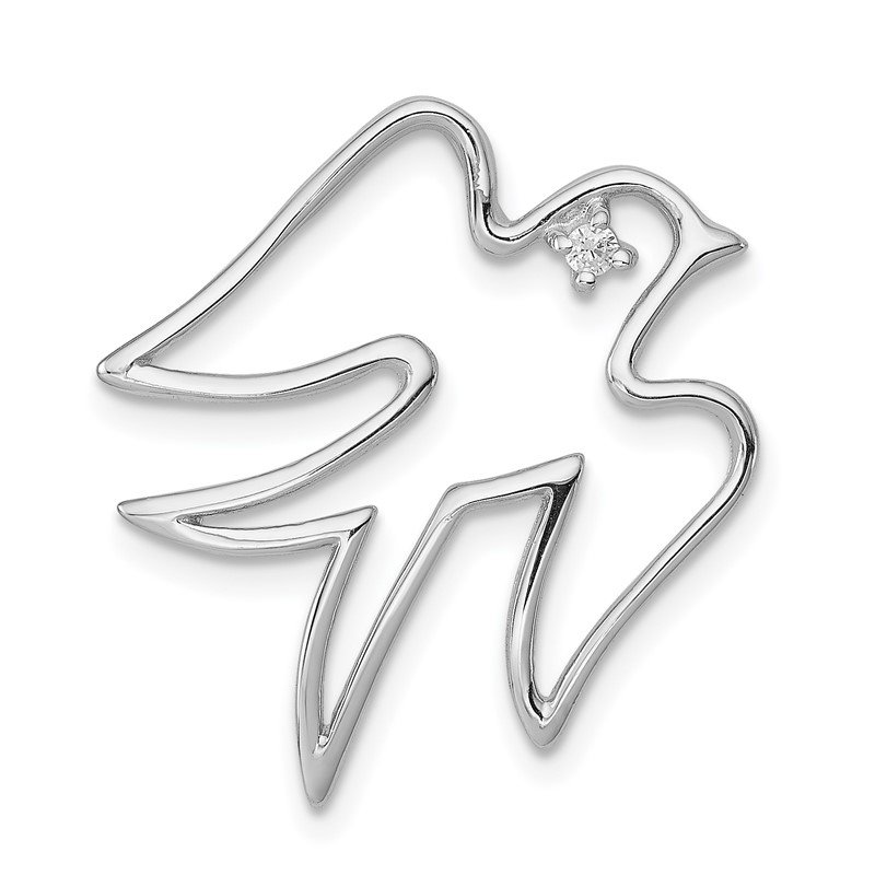 Quality Gold Sterling Silver CZ Dove Pendant