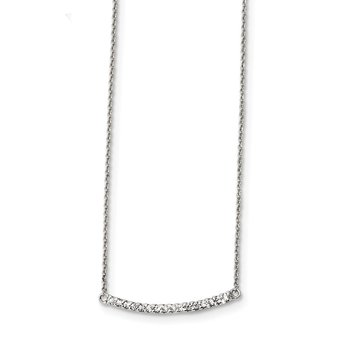 Sterling Silver CZ 18in Curved Bar Necklace