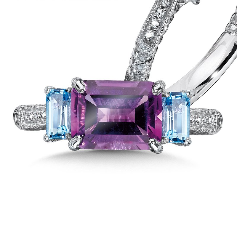 Colore Sg Sterling Silver, purple amethyst and blue topaz diamond ring