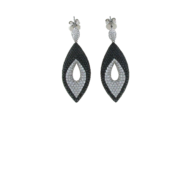 Roberto Coin 18Kt Gold White And Black Diamond Earrings