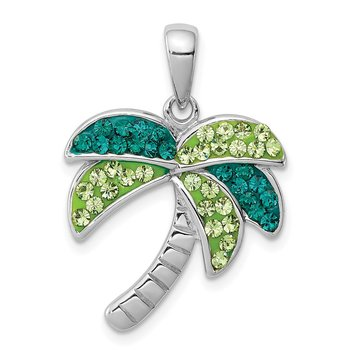 Sterling Silver Rhodium-plated Dark. Green Crystal Palm Tree Penda
