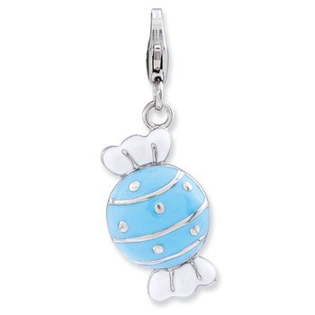 Sterling Silver Enameled Piece of Candy in Wrapper w/Lobster Clasp Charm