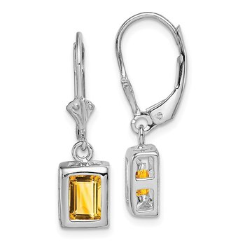 Sterling Silver Rhodium 7x5 Emerald Cut Citrine Leverback Earrings