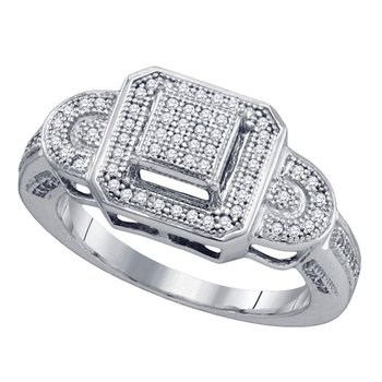 10kt White Gold Womens Round Diamond Square Frame Elevated Cluster Ring 1/4 Cttw