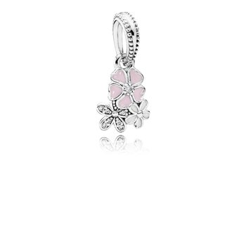 Poetic Blooms Dangle Charm, Mixed Enamels & Clear CZ