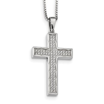 Sterling Silver Brilliant Embers Rhodium-plated CZ Cross Necklace