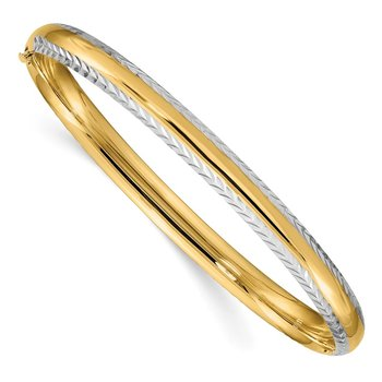 14k 4/16 w/White Rhodium Diamond-Cut Hinged Bangle