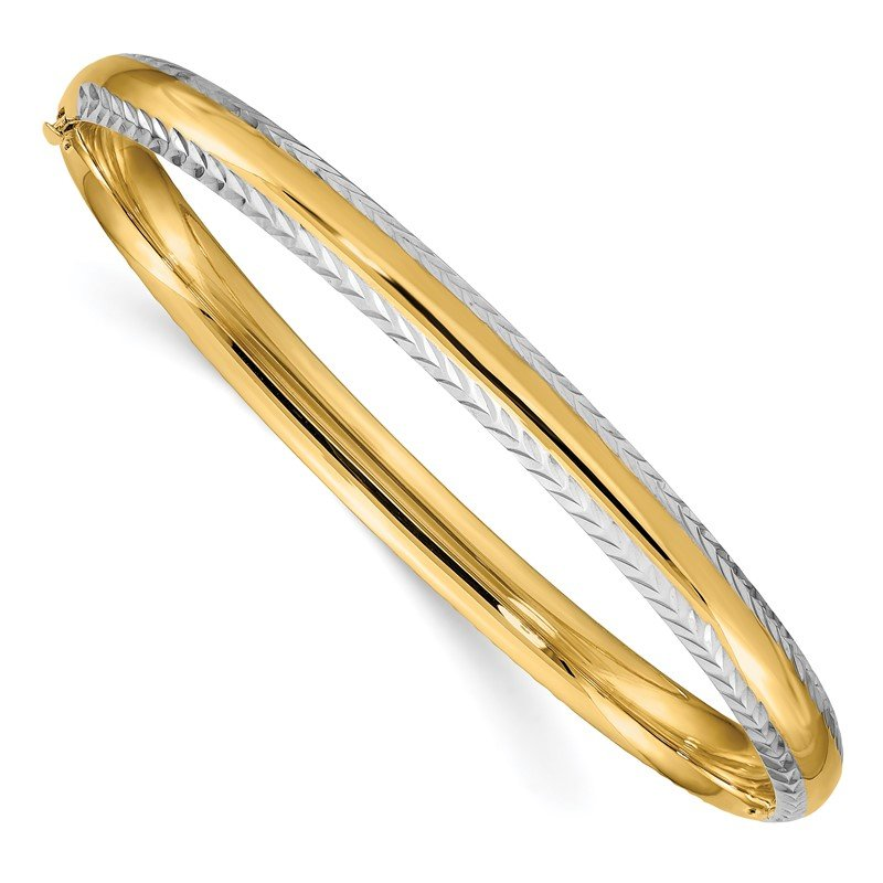 Quality Gold 14k 4/16 w/White Rhodium Diamond-Cut Hinged Bangle