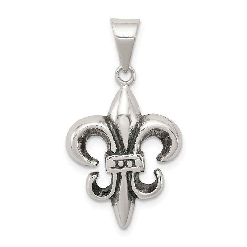 Arizona Diamond Center Collection Sterling Silver Antiqued Fleur De lis Pendant
