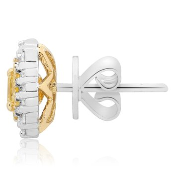 Radiant Cut Two Tone Diamond Earrings