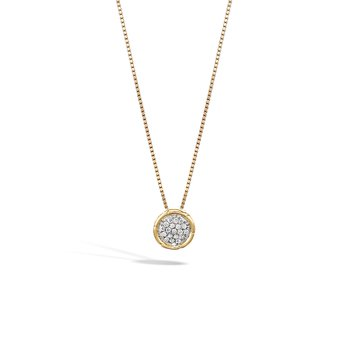 Bamboo Pendant Necklace in 18K Gold with Diamonds