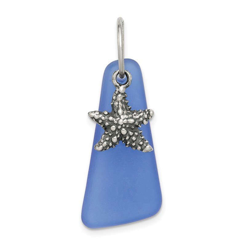 Quality Gold Sterling Silver Blue Sea Glass Starfish Pendant
