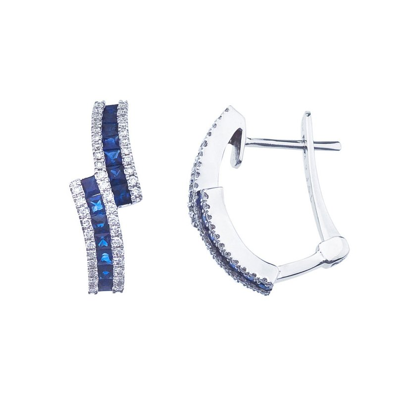 Color Merchants 14k White Gold Sapphire and Diamond Earrings with Euroback
