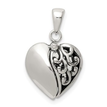 Sterling Silver Antiqued Moveable Heart Pendant
