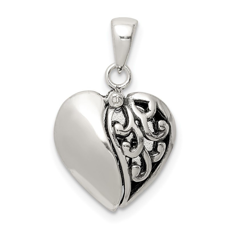 Quality Gold Sterling Silver Antiqued Moveable Heart Pendant