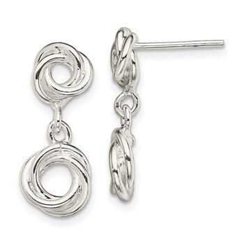 Sterling Silver Knot Polished Dangle Earrings