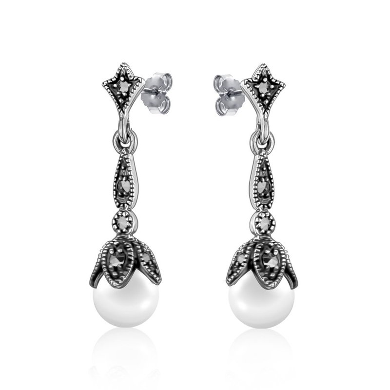 LARUS Jewelry Drop Vintage Pearl Earrings