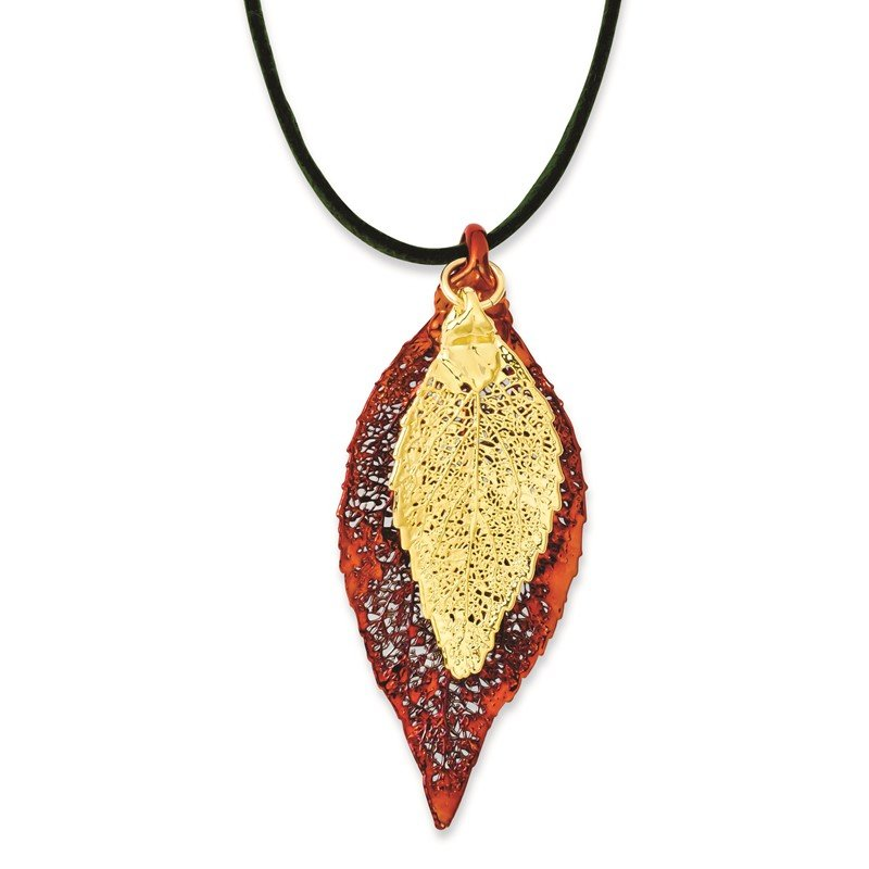 Quality Gold Iridescent Copper/24k Gold Dipped Double Evergreen Leaf Necklace